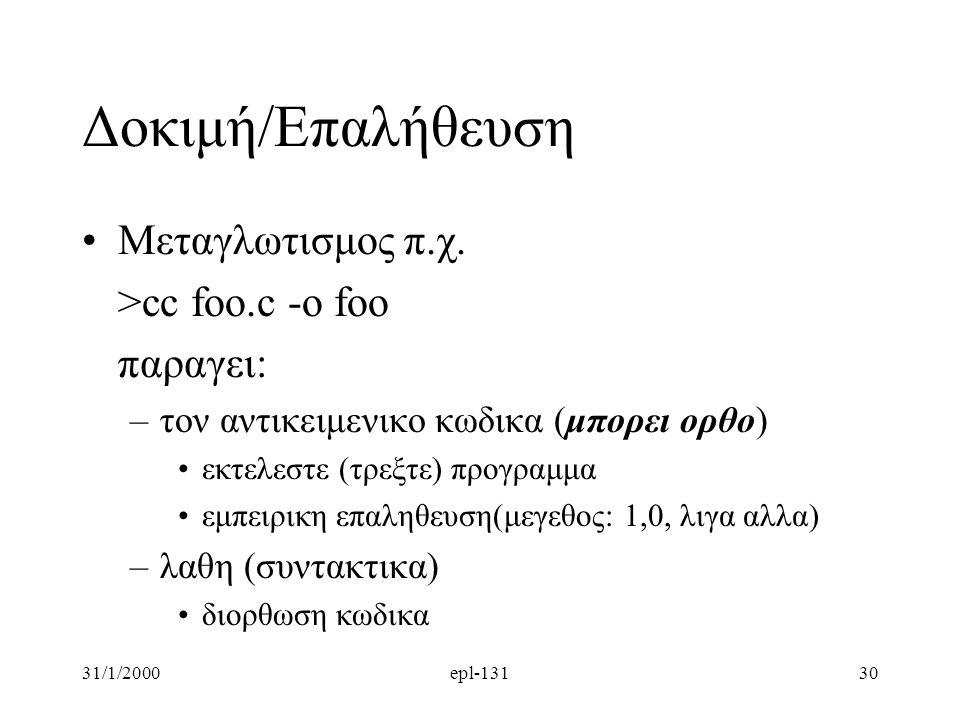 Δοκιμή/Επαλήθευση Μεταγλωτισμος π.χ. >cc foo.c -o foo παραγει: