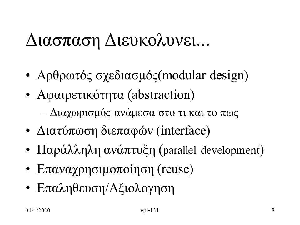 Διασπαση Διευκολυνει... Aρθρωτός σχεδιασμός(modular design)
