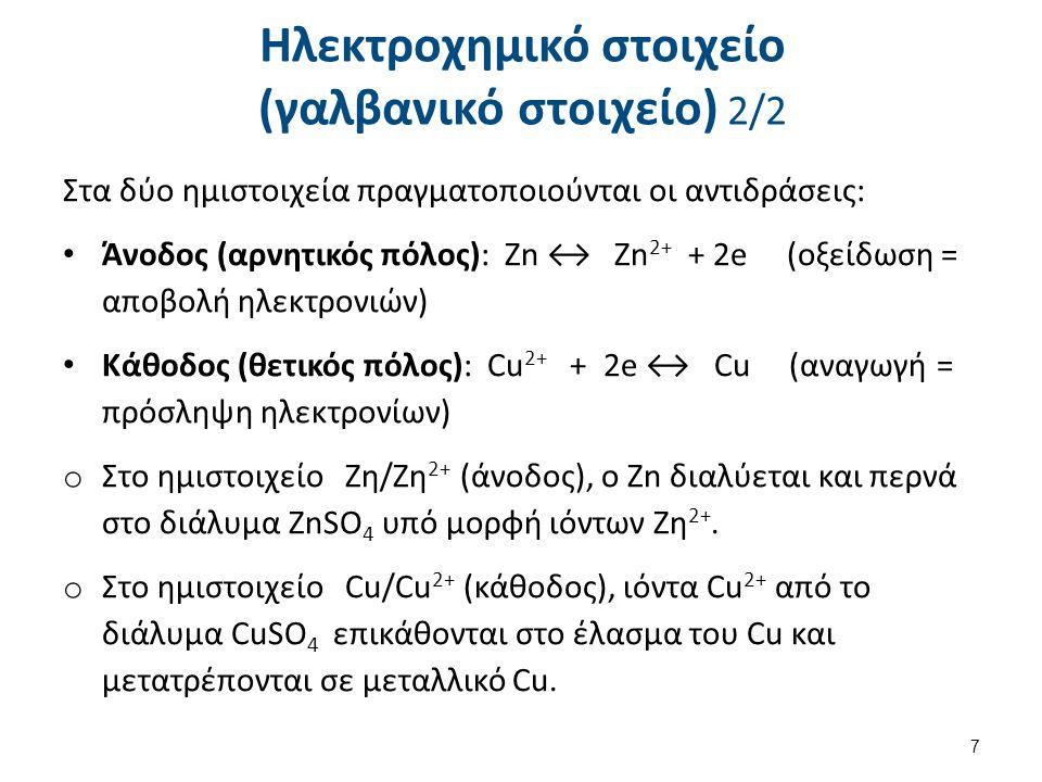 Γαλβανικό ή ηλεκτροχημικό στοιχείο (στοιχείο Daniel)