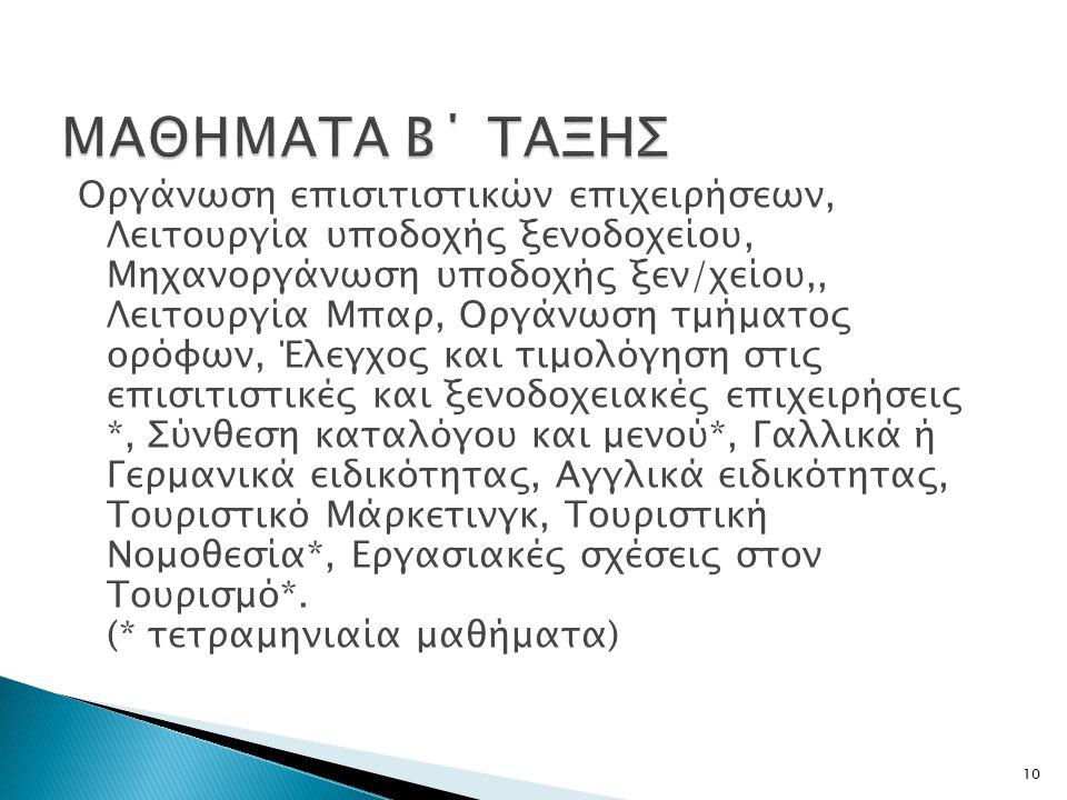 ΜΑΘΗΜΑΤΑ Β΄ ΤΑΞΗΣ