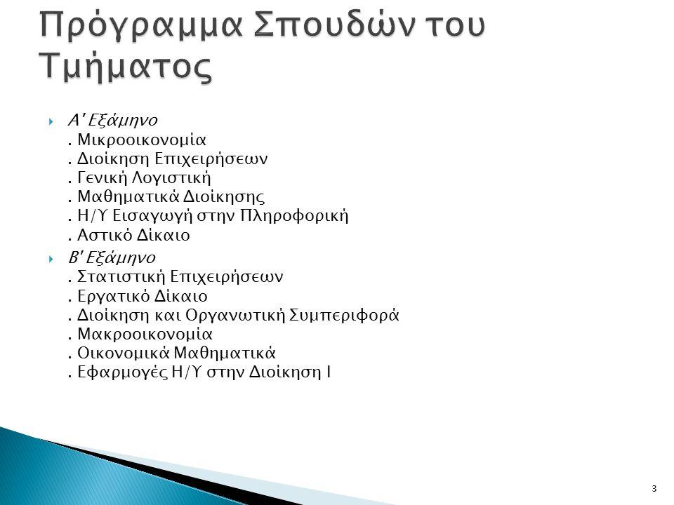 Πρόγραμμα Σπουδών του Τμήματος