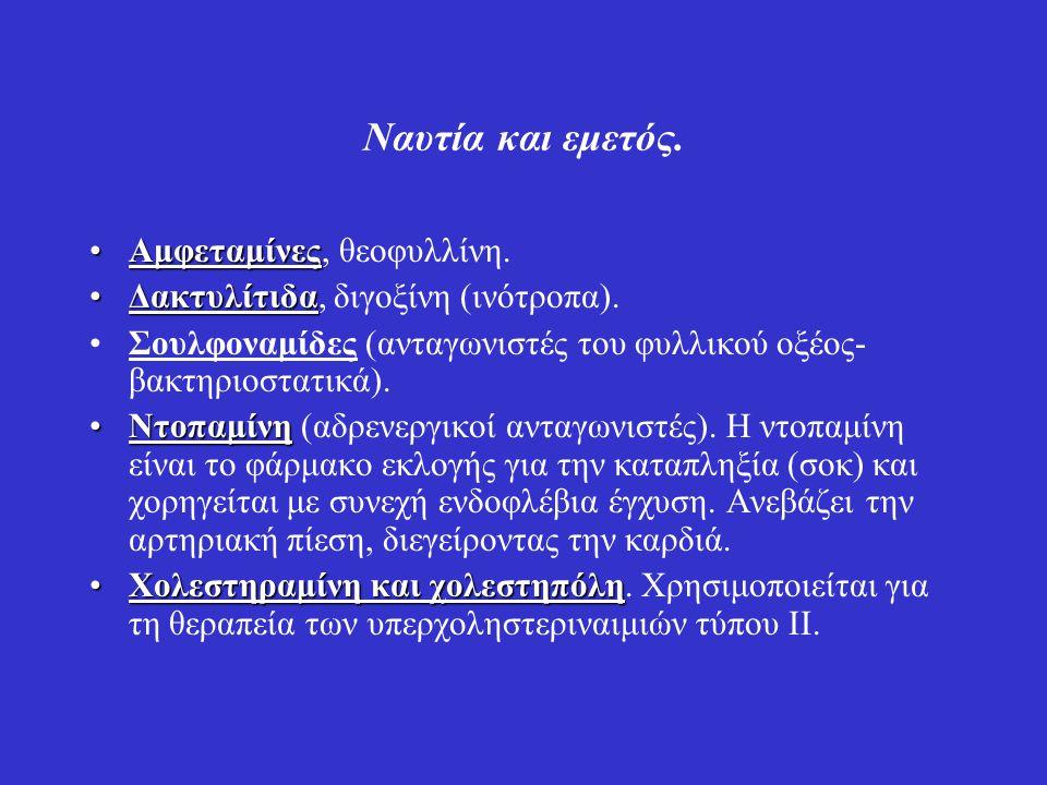 Ναυτία και εμετός. Αμφεταμίνες, θεοφυλλίνη.