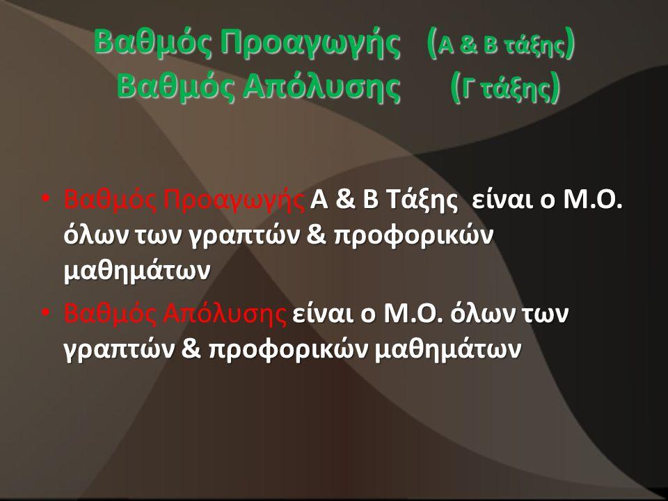 Βαθμός Προαγωγής (Α & Β τάξης) Βαθμός Απόλυσης (Γ τάξης)