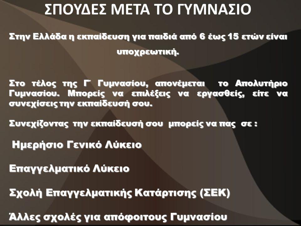 ΣΠΟΥΔΕΣ ΜΕΤΑ ΤΟ ΓΥΜΝΑΣΙΟ