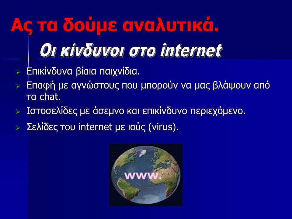 Οι κίνδυνοι στο internet