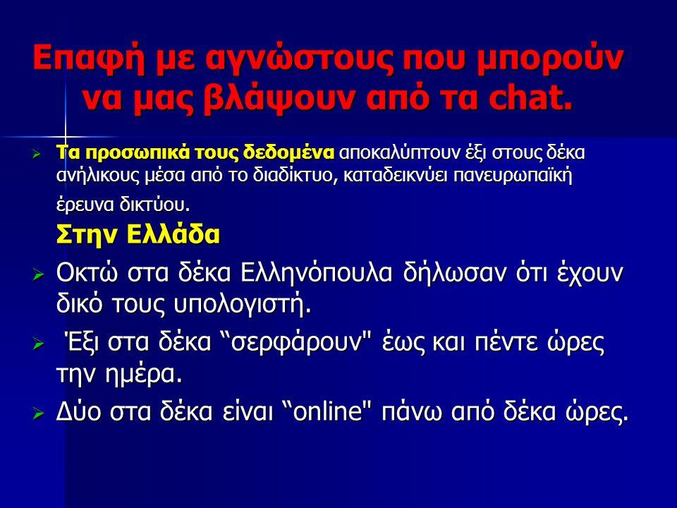 Επαφή με αγνώστους που μπορούν να μας βλάψουν από τα chat.