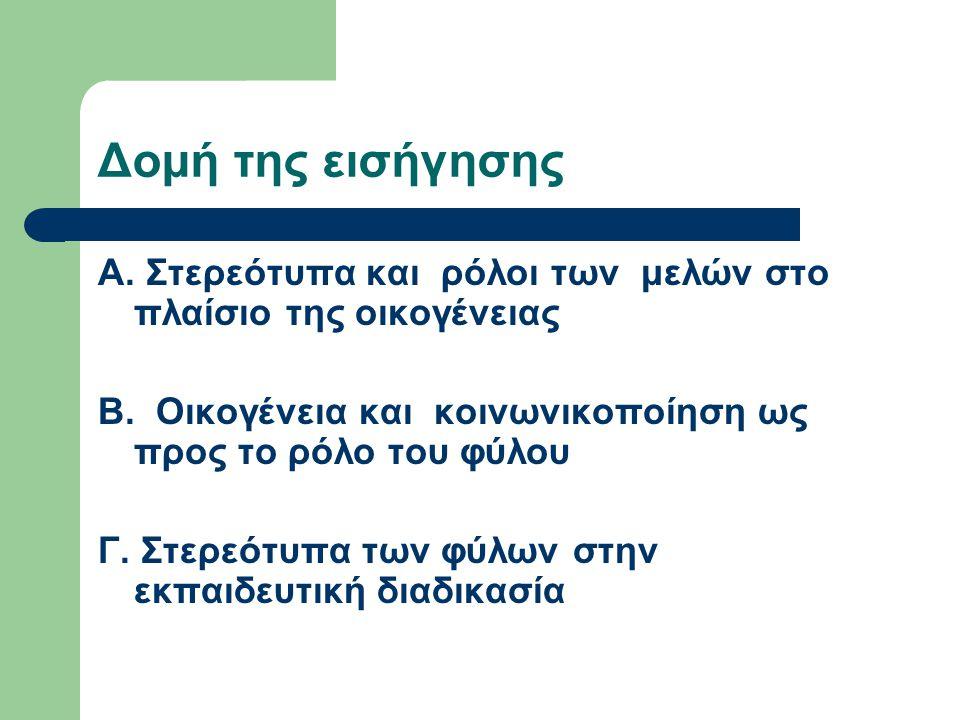 Δομή της εισήγησης Α. Στερεότυπα και ρόλοι των μελών στο πλαίσιο της οικογένειας. Β. Οικογένεια και κοινωνικοποίηση ως προς το ρόλο του φύλου.