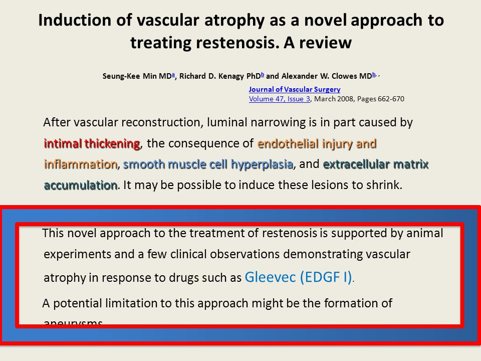 Induction of vascular atrophy as a novel approach to treating restenosis. A review Seung-Kee Min MDa, Richard D. Kenagy PhDb and Alexander W. Clowes MDb, ,