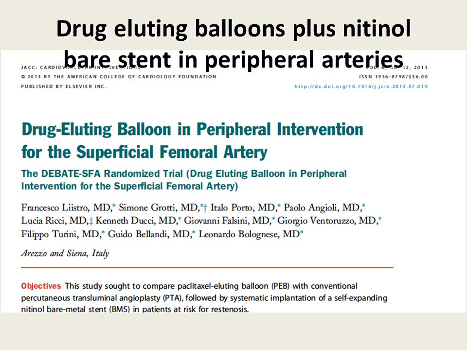 Drug eluting balloons plus nitinol bare stent in peripheral arteries