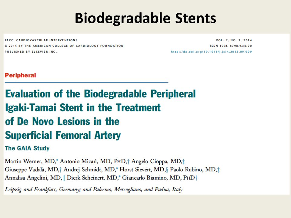 Biodegradable Stents
