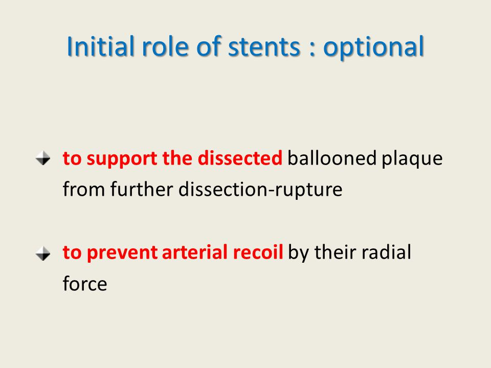 Initial role of stents : optional