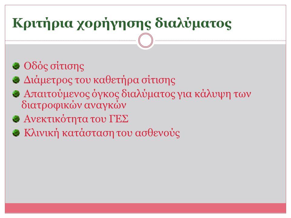 Κριτήρια χορήγησης διαλύματος