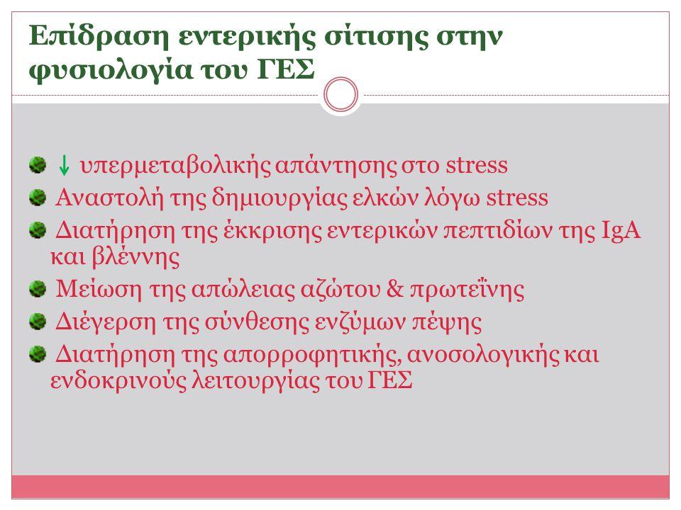 Επίδραση εντερικής σίτισης στην φυσιολογία του ΓΕΣ
