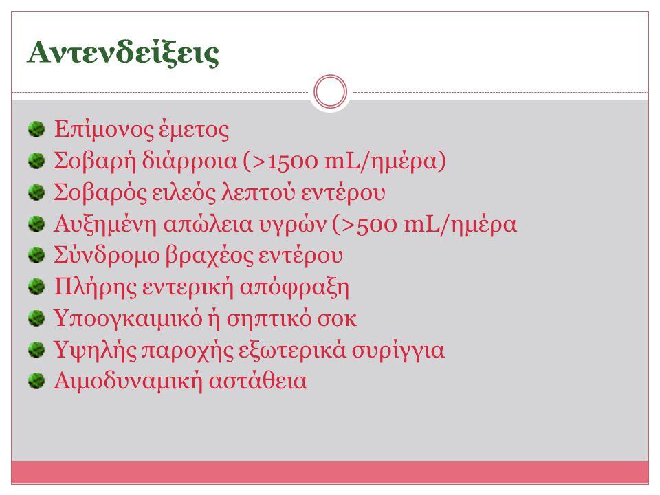 Αντενδείξεις Επίμονος έμετος Σοβαρή διάρροια (>1500 mL/ημέρα)