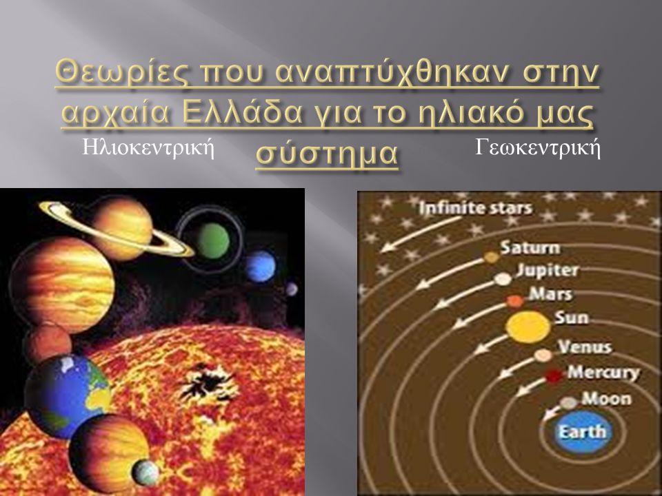 Θεωρίες που αναπτύχθηκαν στην αρχαία Ελλάδα για το ηλιακό μας σύστημα