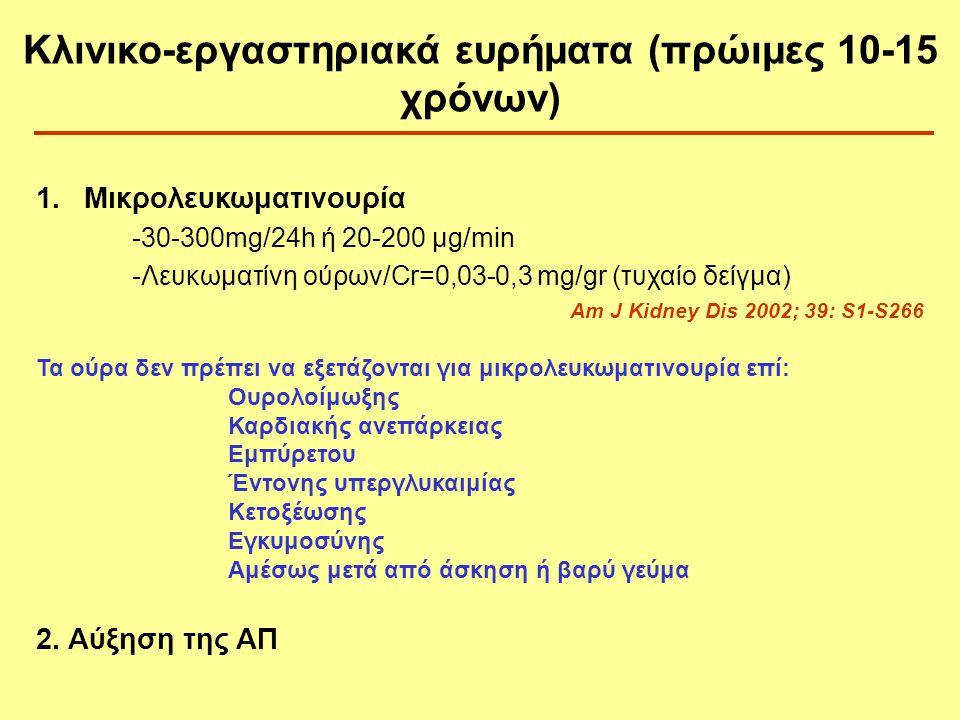 Κλινικο-εργαστηριακά ευρήματα (πρώιμες 10-15 χρόνων)