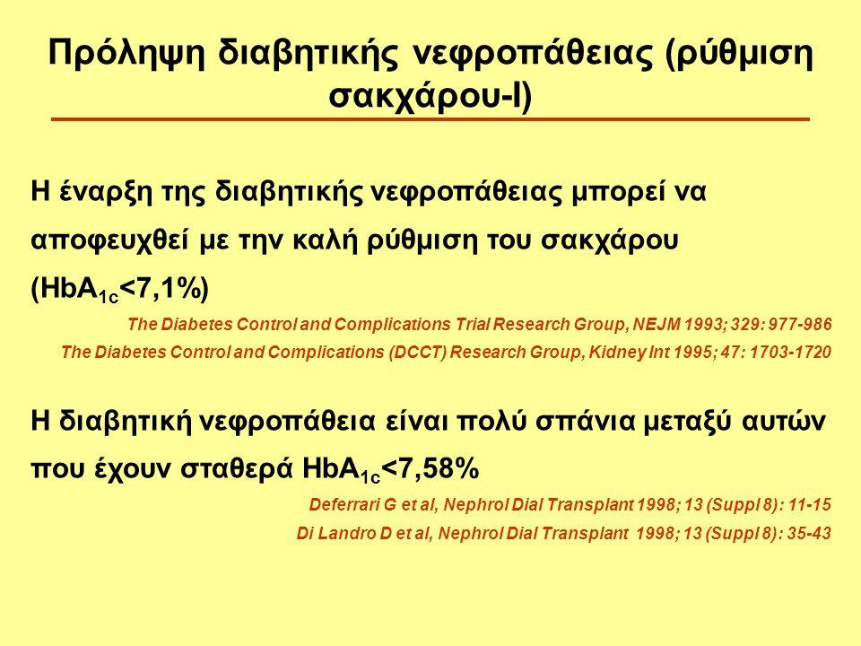 Πρόληψη διαβητικής νεφροπάθειας (ρύθμιση σακχάρου-Ι)