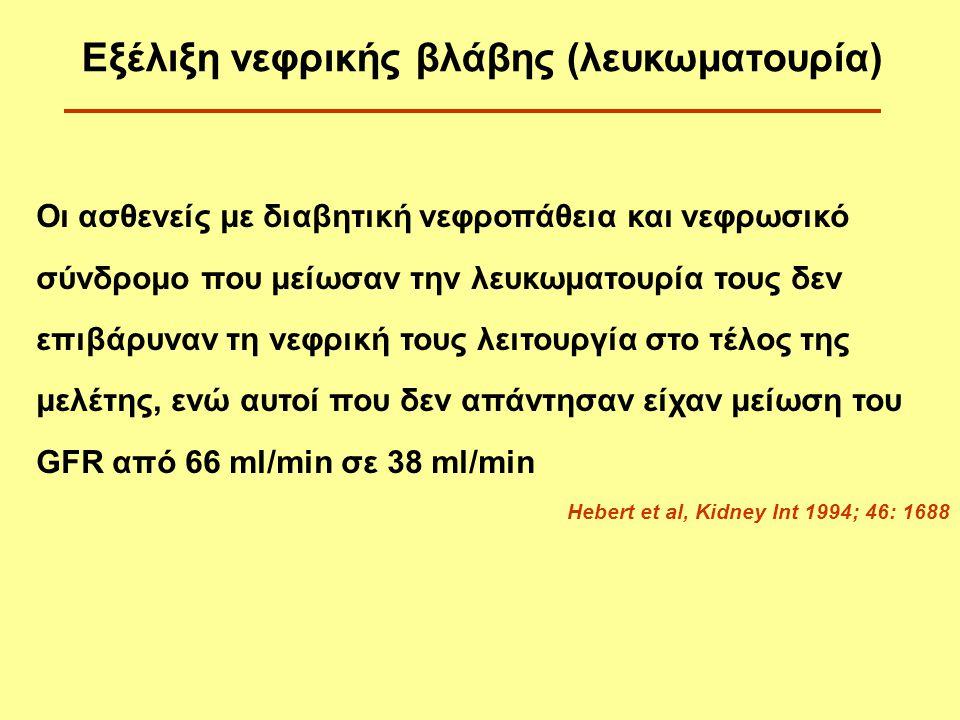 Εξέλιξη νεφρικής βλάβης (λευκωματουρία)