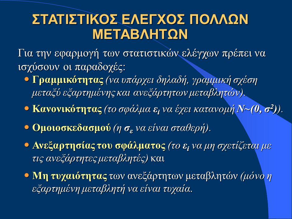 ΣΤΑΤΙΣΤΙΚΟΣ ΕΛΕΓΧΟΣ ΠΟΛΛΩΝ ΜΕΤΑΒΛΗΤΩΝ