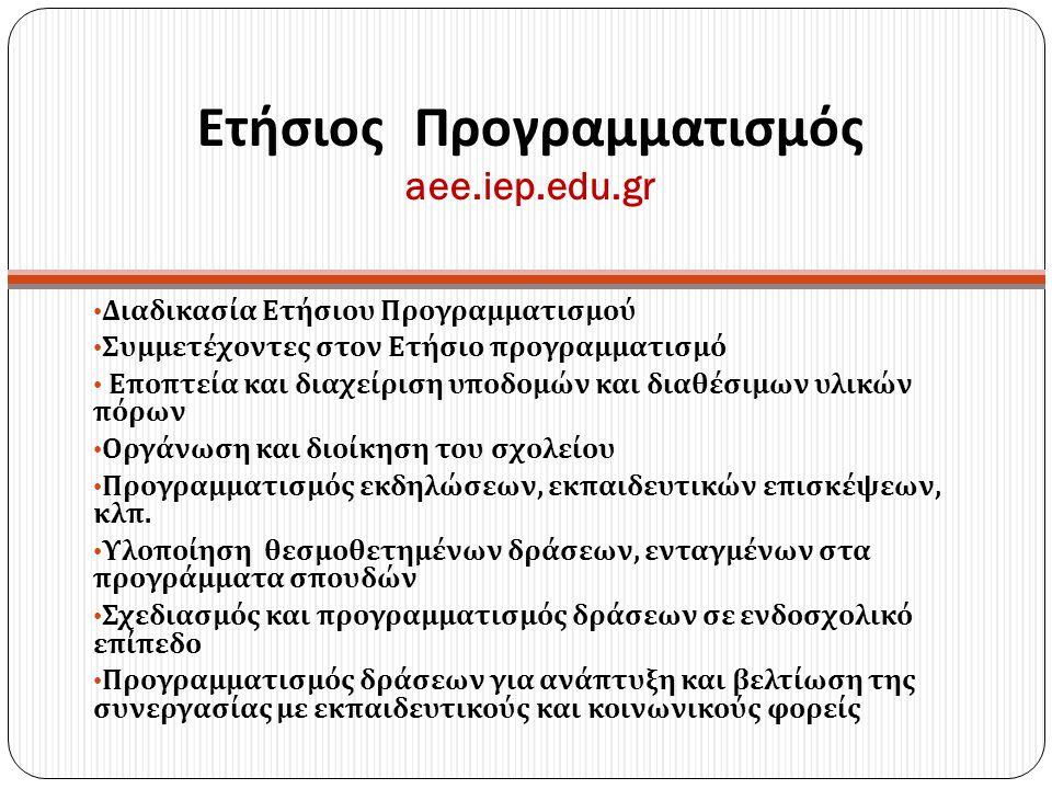 Ετήσιος Προγραμματισμός aee.iep.edu.gr