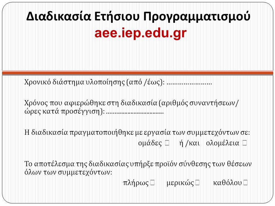 Διαδικασία Ετήσιου Προγραμματισμού aee.iep.edu.gr