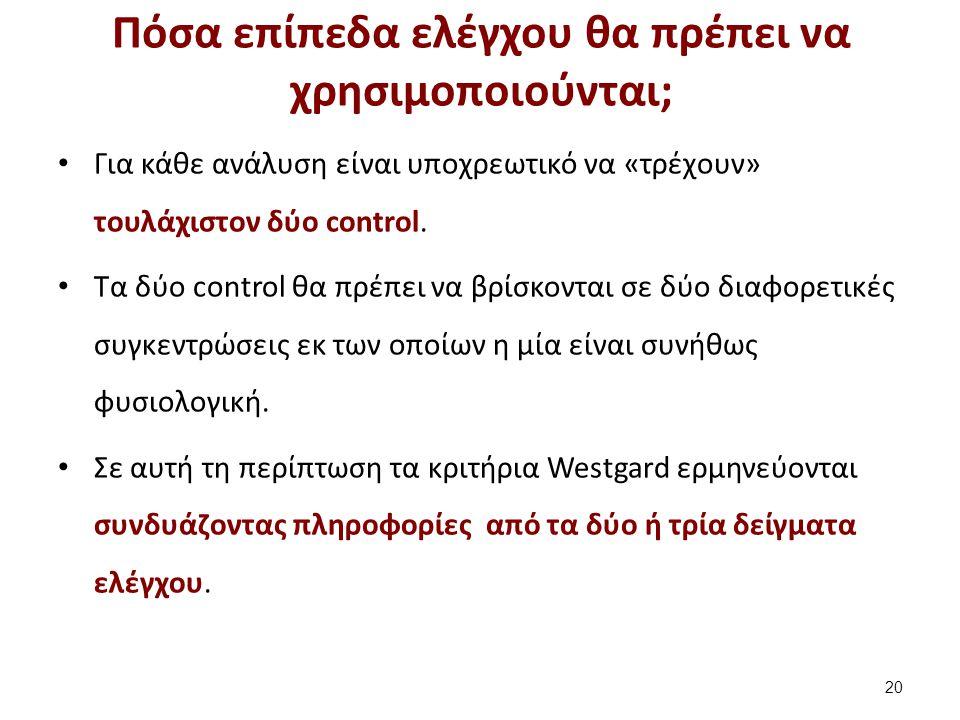 Κριτήρια Westgard με δύο επίπεδα (2 από 2)