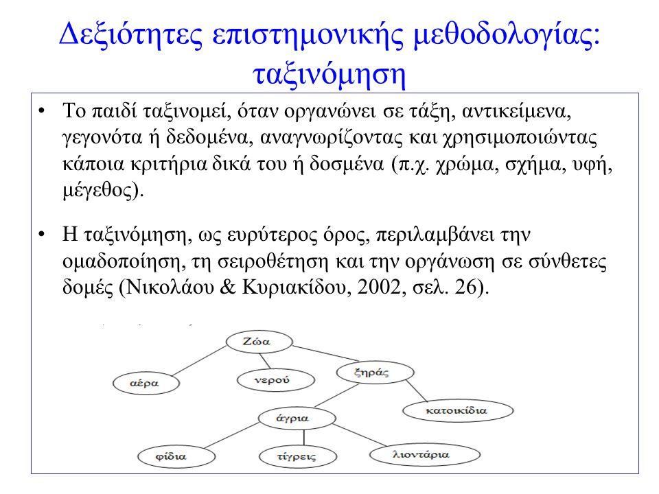 Δεξιότητες επιστημονικής μεθοδολογίας: ταξινόμηση