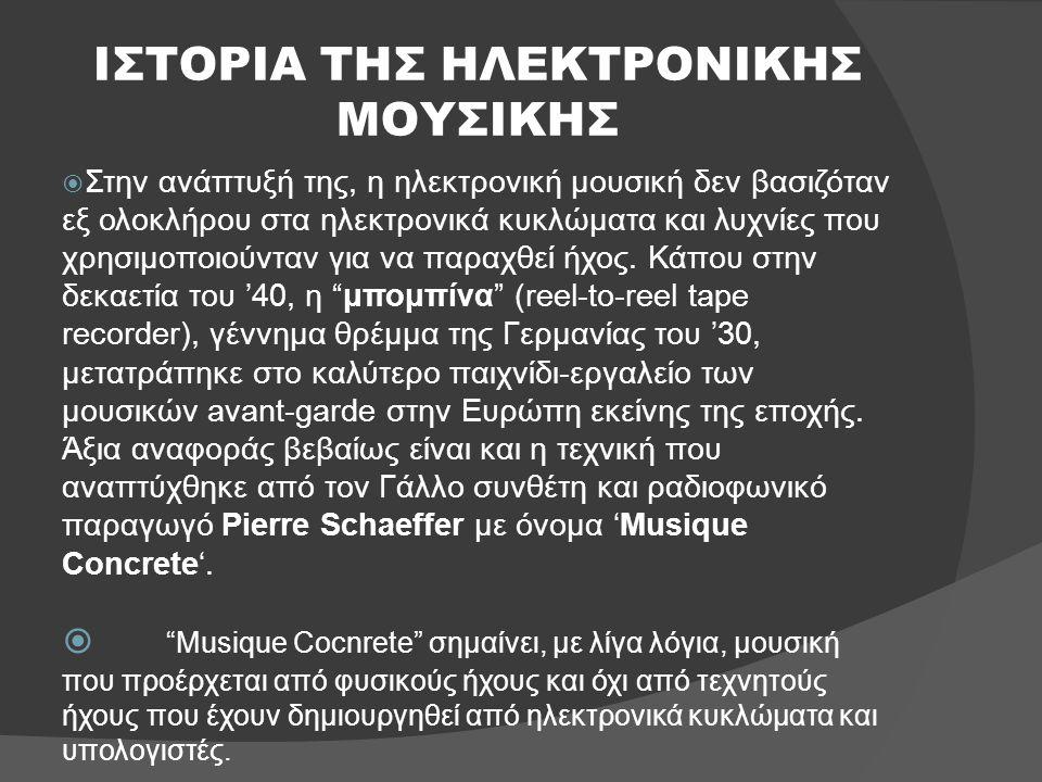 ΙΣΤΟΡΙΑ ΤΗΣ ΗΛΕΚΤΡΟΝΙΚΗΣ ΜΟΥΣΙΚΗΣ