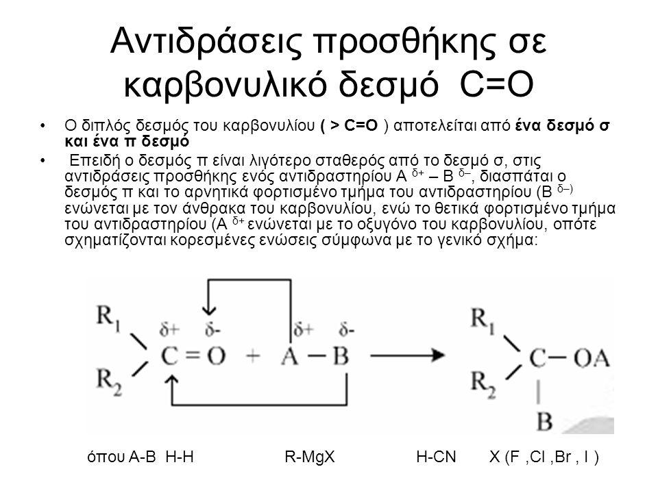 Αντιδράσεις προσθήκης σε καρβονυλικό δεσμό C=O