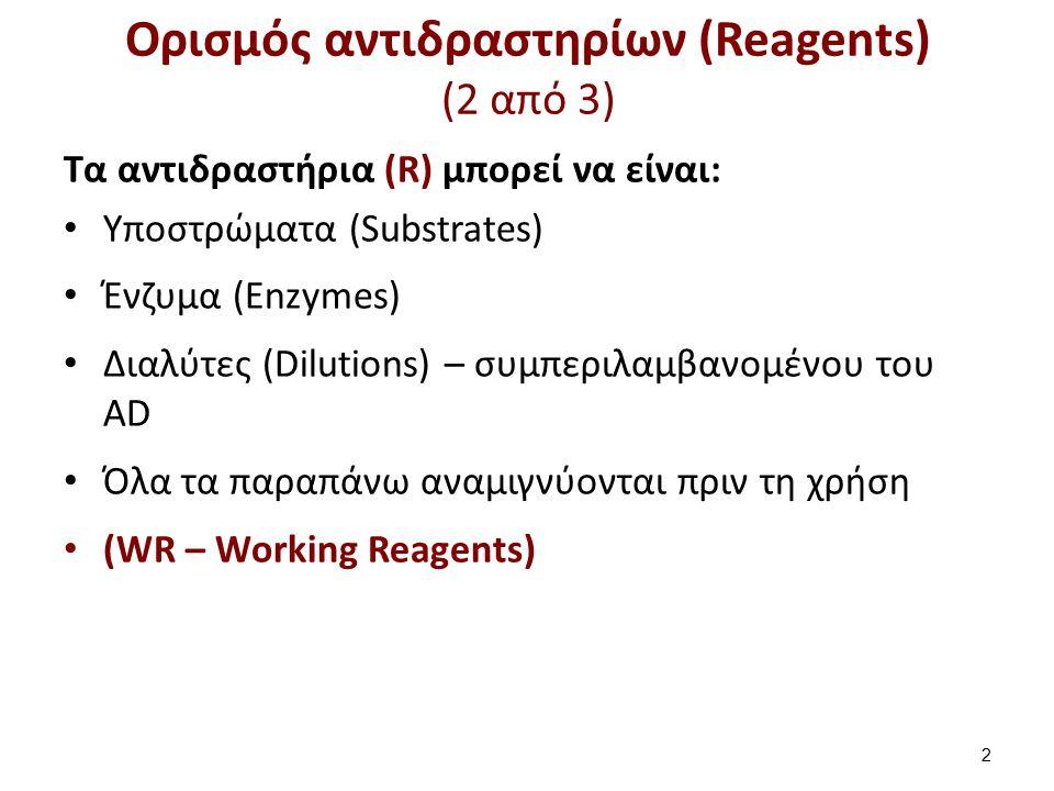 Ορισμός αντιδραστηρίων (Reagents) (3 από 3)