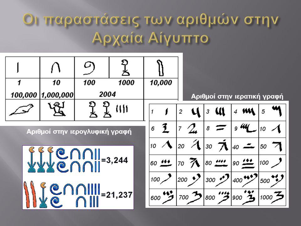 Οι παραστάσεις των αριθμών στην Αρχαία Αίγυπτο