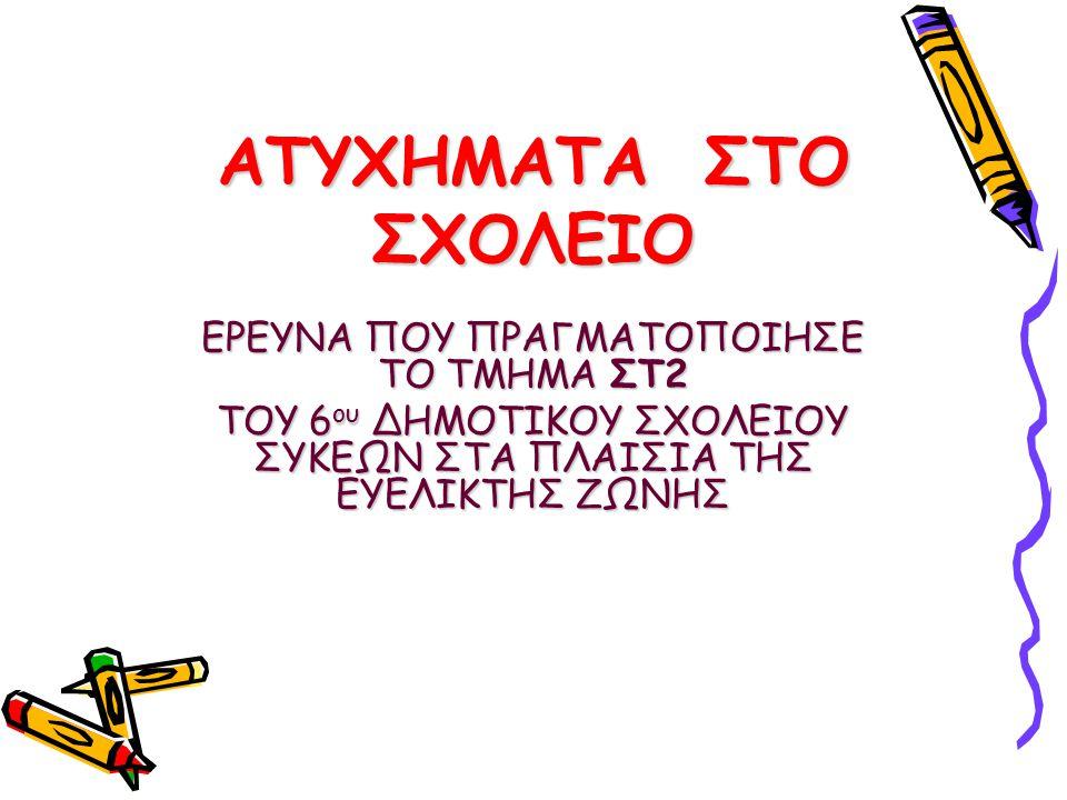 ΑΤΥΧΗΜΑΤΑ ΣΤΟ ΣΧΟΛΕΙΟ ΕΡΕΥΝΑ ΠΟΥ ΠΡΑΓΜΑΤΟΠΟΙΗΣΕ ΤΟ TMHMA ΣΤ2