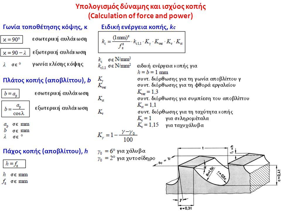 Υπολογισμός δύναμης και ισχύος κοπής (Calculation of force and power)