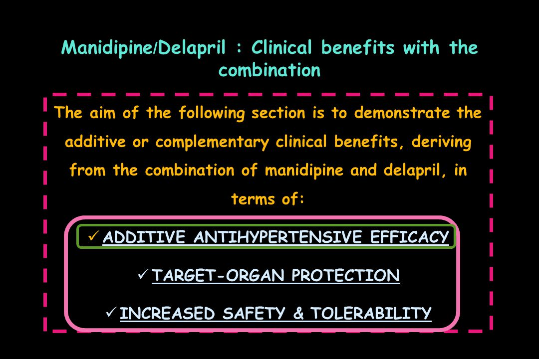 Manidipine/Delapril : Clinical benefits with the combination