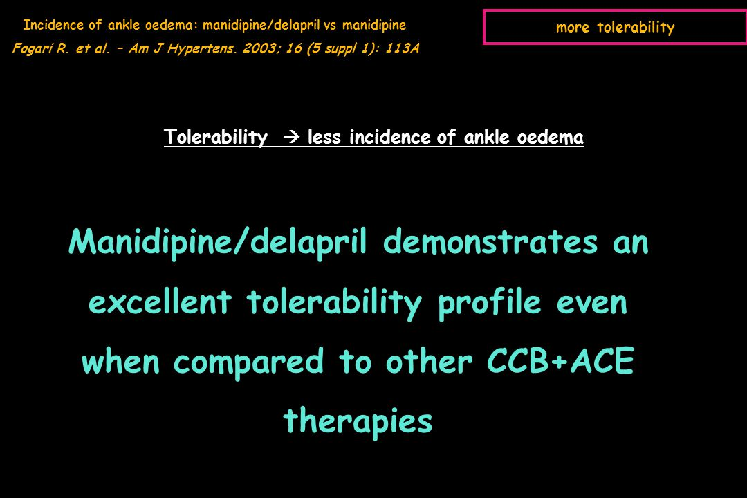 Incidence of ankle oedema: manidipine/delapril vs manidipine