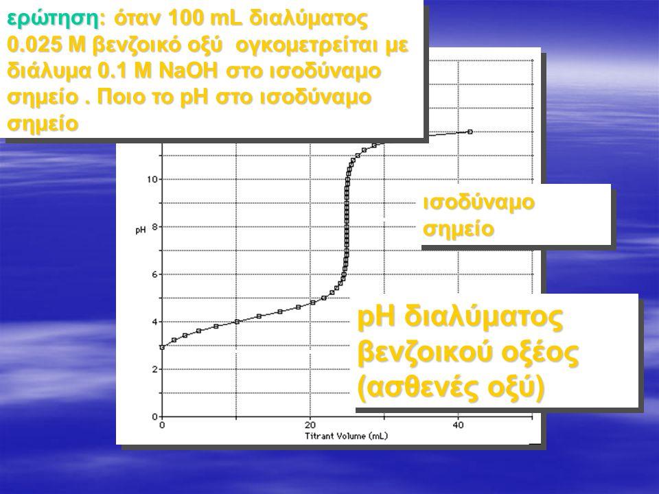 pH διαλύματος βενζοικού οξέος (ασθενές οξύ)