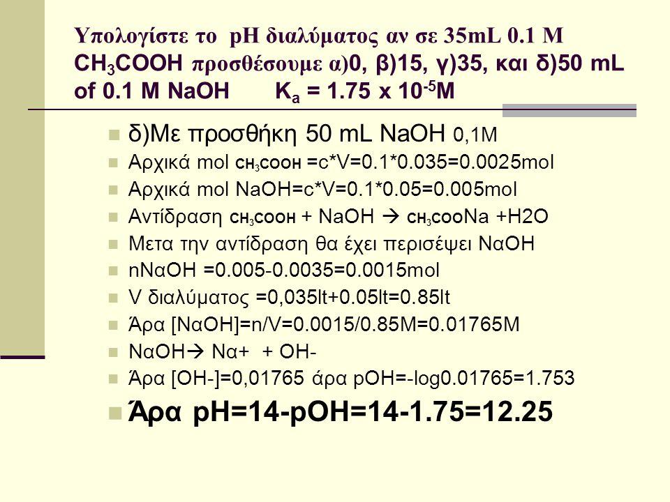 Άρα pH=14-pOH=14-1.75=12.25 δ)Με προσθήκη 50 mL NaOH 0,1Μ