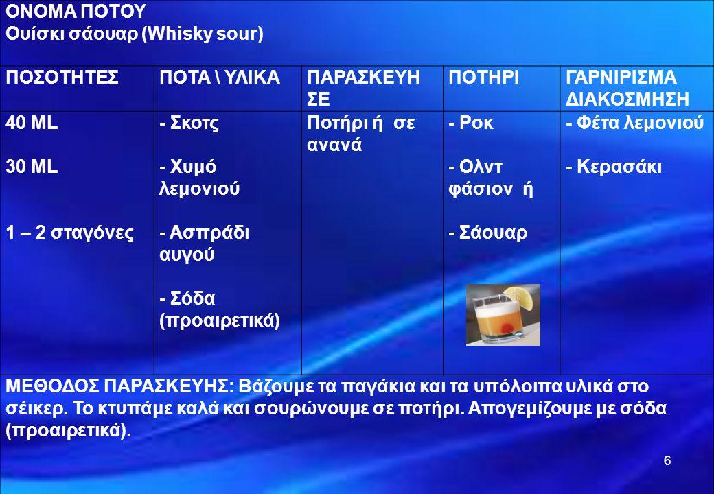 ΟΝΟΜΑ ΠΟΤΟΥ Ουίσκι σάουαρ (Whisky sour) ΠΟΣΟΤΗΤΕΣ. ΠΟΤΑ \ ΥΛΙΚΑ. ΠΑΡΑΣΚΕΥΗ. ΣΕ. ΠΟΤΗΡΙ. ΓΑΡΝΙΡΙΣΜΑ.