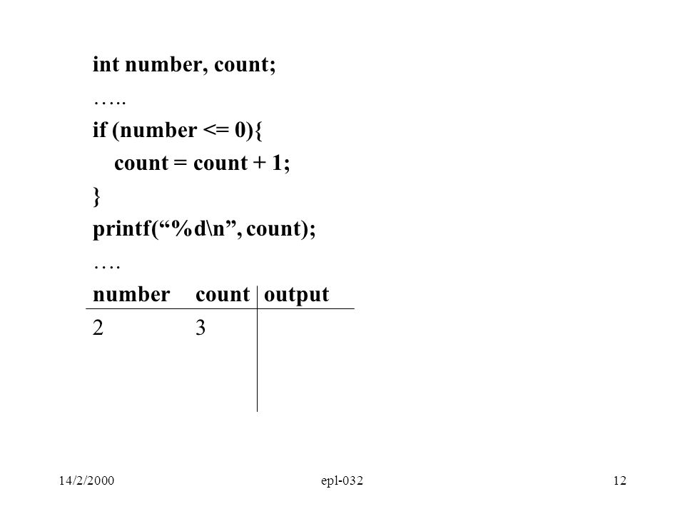 printf( %d\n , count); …. number count output 2 3