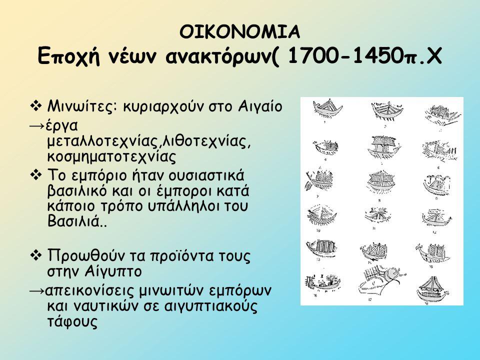 ΟΙΚΟΝΟΜΙΑ Εποχή νέων ανακτόρων( 1700-1450π.Χ