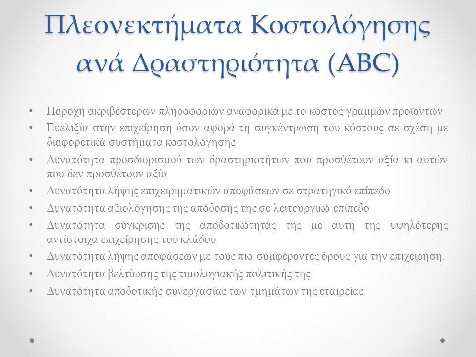 Πλεονεκτήματα Κοστολόγησης ανά Δραστηριότητα (ABC)