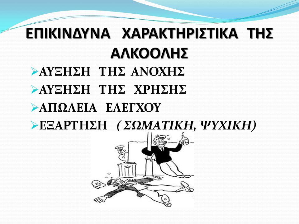 ΕΠΙΚΙΝΔΥΝΑ ΧΑΡΑΚΤΗΡΙΣΤΙΚΑ ΤΗΣ ΑΛΚΟΟΛΗΣ