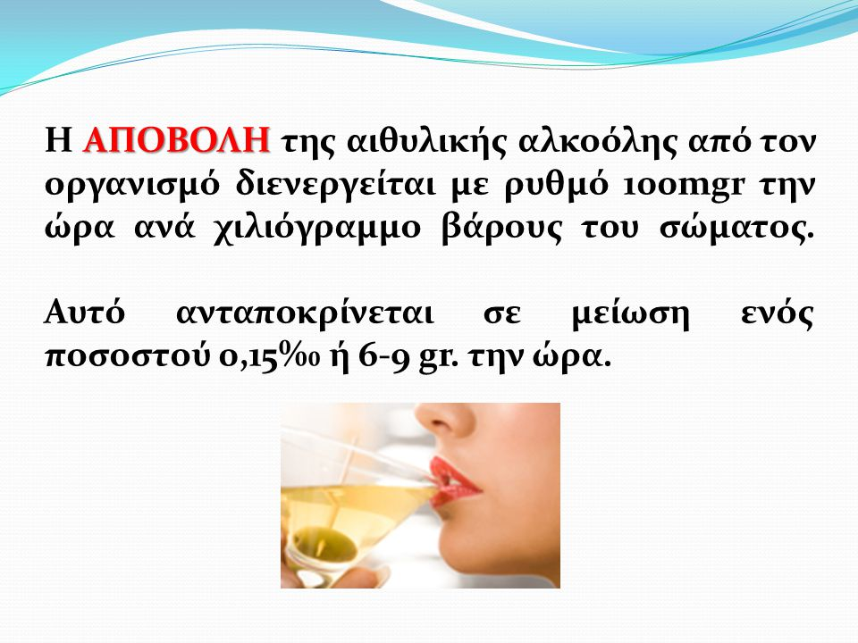 Η ΑΠΟΒΟΛΗ της αιθυλικής αλκοόλης από τον οργανισμό διενεργείται με ρυθμό 100mgr την ώρα ανά χιλιόγραμμο βάρους του σώματος.