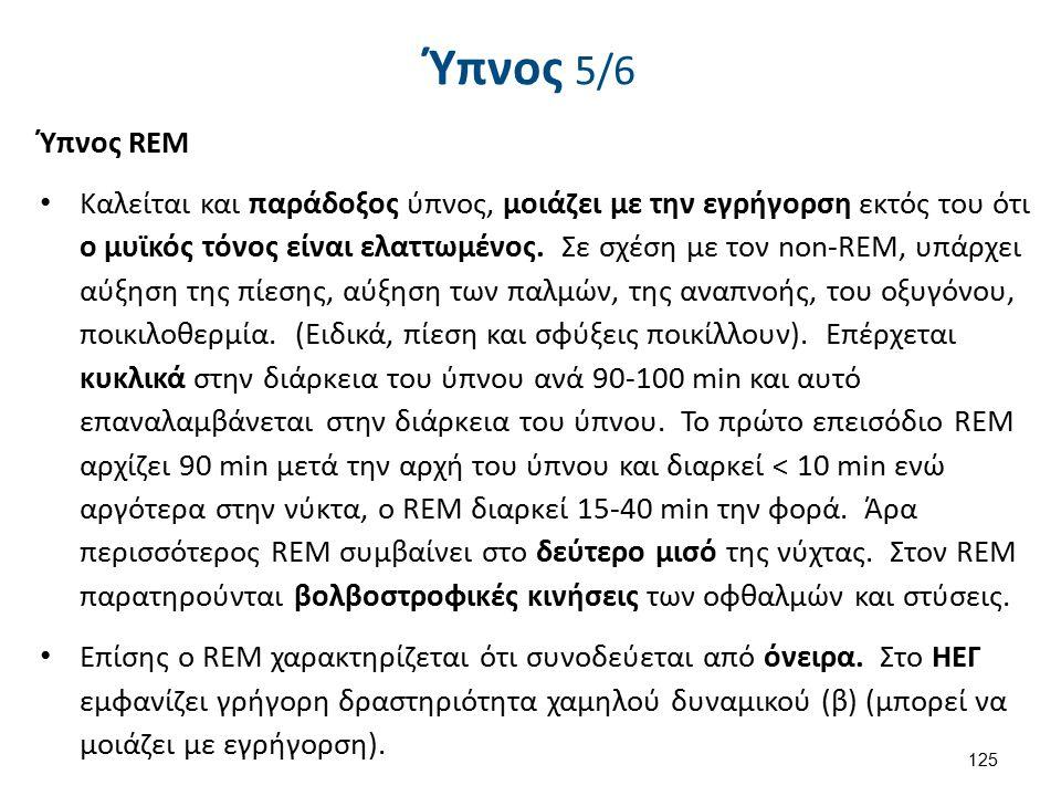 Ύπνος 6/6 Πυκνότητα του REM: (ReΜ density) = καλείται ο αριθμός των οφθαλμικών κινήσεων ανά REM επεισόδιο.