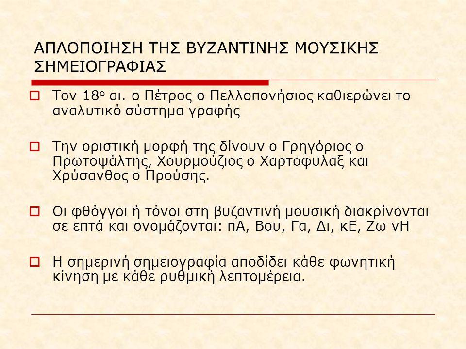 ΑΠΛΟΠΟΙΗΣΗ ΤΗΣ ΒΥΖΑΝΤΙΝΗΣ ΜΟΥΣΙΚΗΣ ΣΗΜΕΙΟΓΡΑΦΙΑΣ