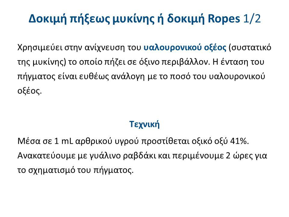 Δοκιμή πήξεως μυκίνης ή δοκιμή Ropes 2/2