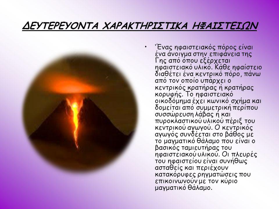 ΔΕΥΤΕΡΕΥΟΝΤΑ ΧΑΡΑΚΤΗΡΙΣΤΙΚΑ ΗΦΑΙΣΤΕΙΩΝ
