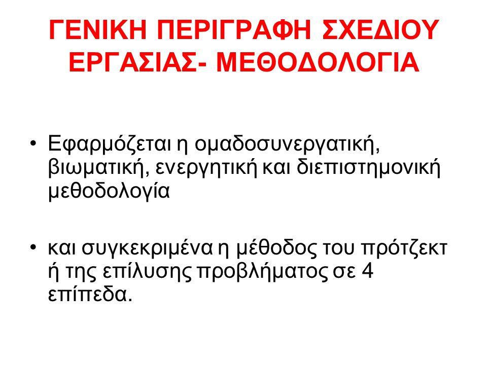 ΓΕΝΙΚΗ ΠΕΡΙΓΡΑΦΗ ΣΧΕΔΙΟΥ ΕΡΓΑΣΙΑΣ- ΜΕΘΟΔΟΛΟΓΙΑ