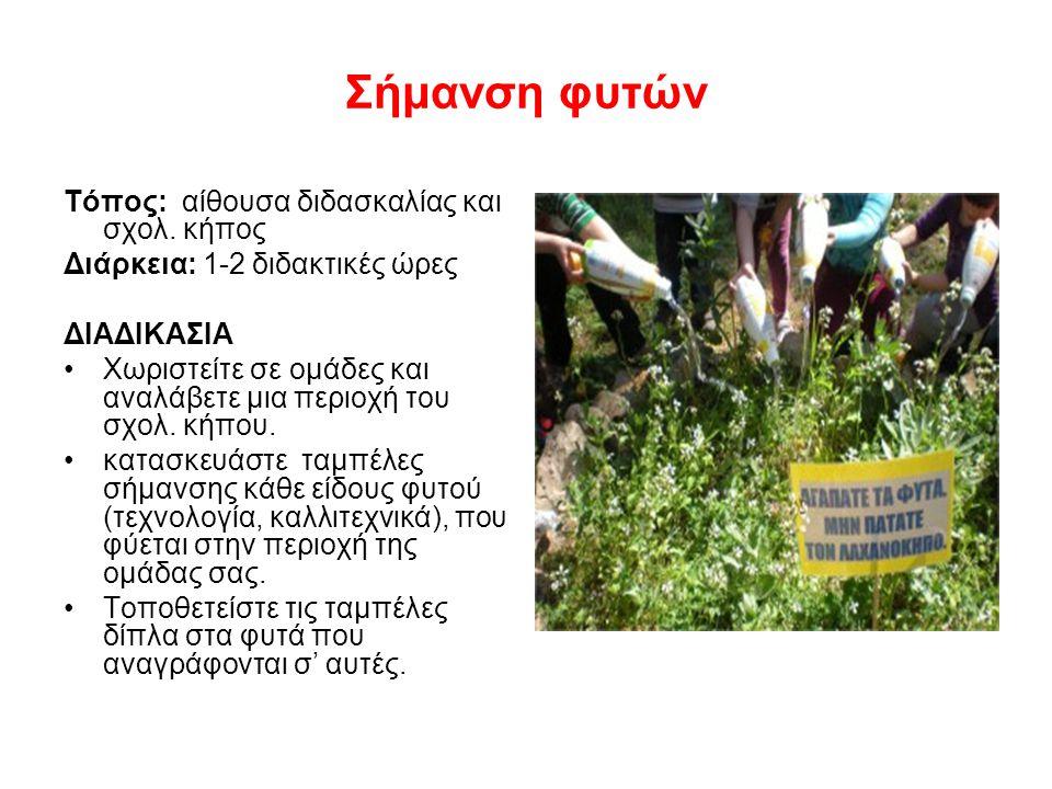 Σήμανση φυτών Τόπος: αίθουσα διδασκαλίας και σχολ. κήπος