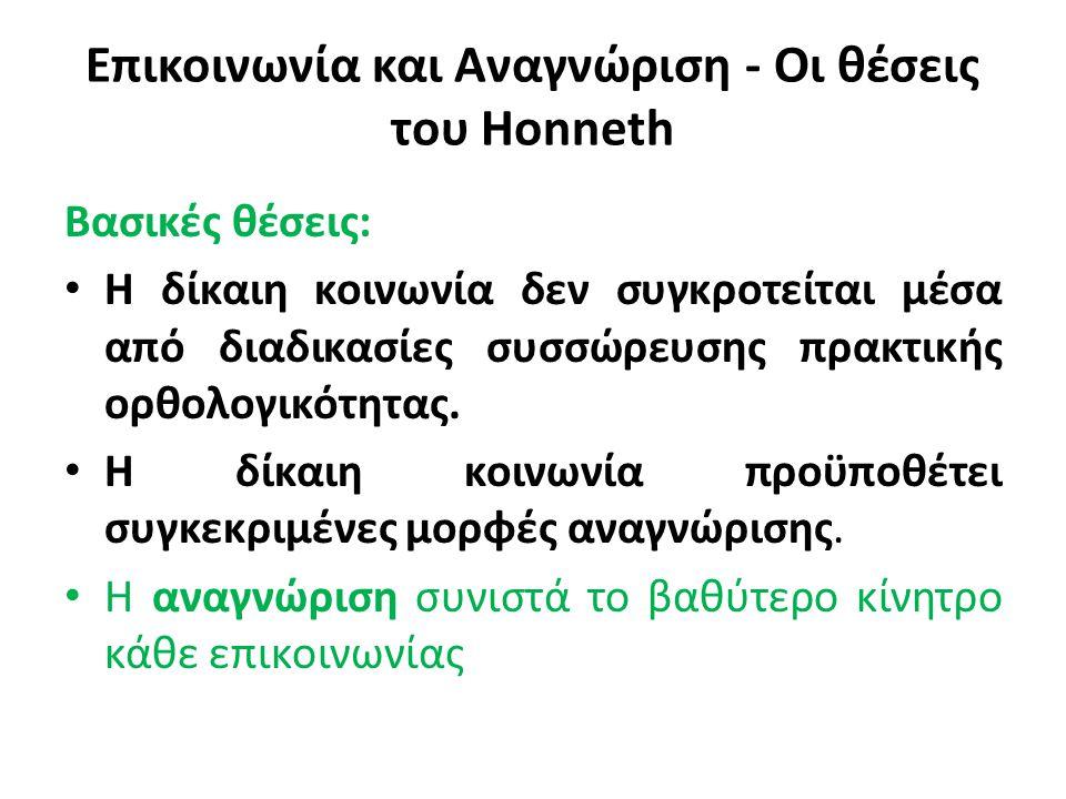 Επικοινωνία και Αναγνώριση - Οι θέσεις του Honneth